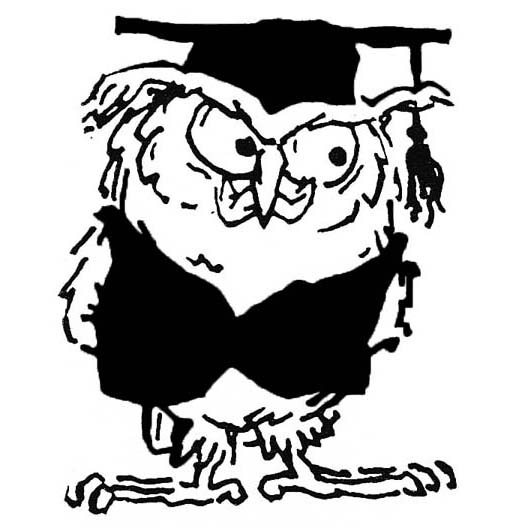 Grossman owl from The Yale Record college humor magazine at yalerecord.com.
