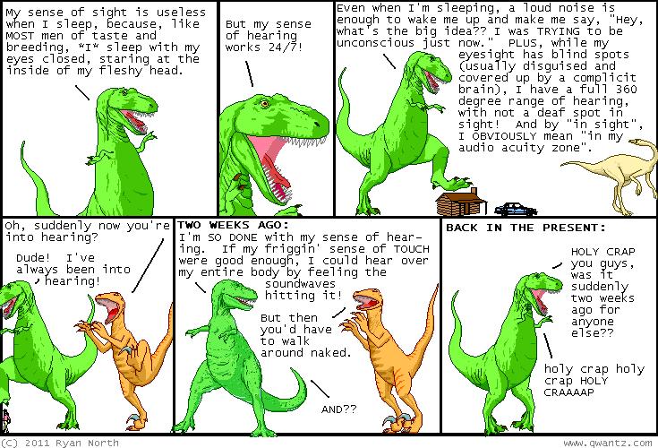 comic2 2007 Dinosaur Comics: Hearing Works 24/7